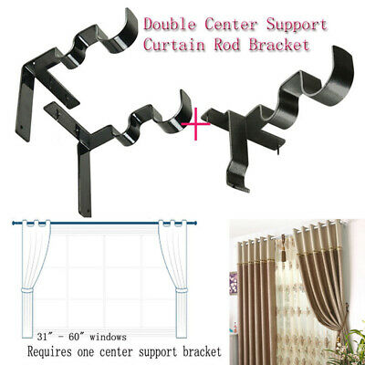 US FAST Kwik Hang Double Center Support Curtain Rod Bracket Window Frame Bracket
