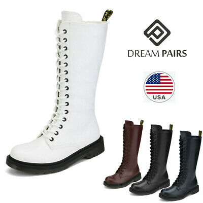 DREAM PAIRS Womens Lace Up Zipper Mid-calf Boots Ladies Mili