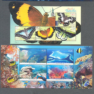 Australia min sheets -Butterflies + Reefs fine used cto