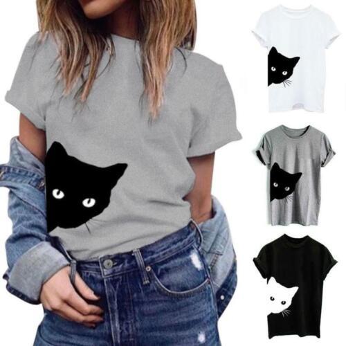 как выглядит Women Summer Shirts Cotton Blouse Cat Print T-shirt Short Sleeve Hipster Tops фото