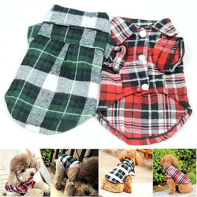 Cute Plaid T Shirt Lapel Coat Cat Jacket Clothes Apparel Tops for Small Pet Dog