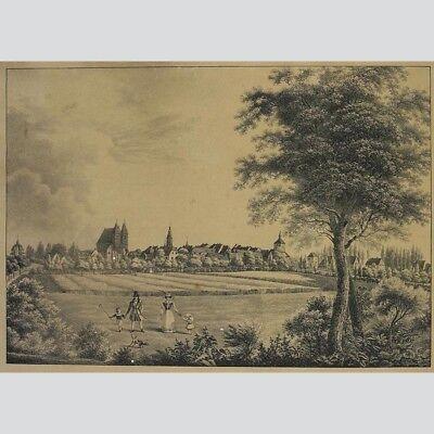 Der Familienausflug, Dorf im Hintergrund - schöner Punktierstich um 1800