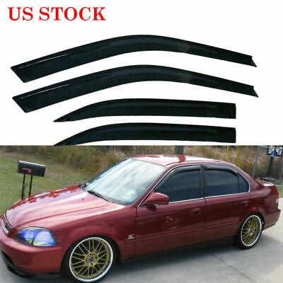 for 1996-2000 Honda Civic 4 Door Sedan Sun Window Visor Rain Guard Smoke Tinted
