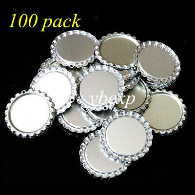 100 PCS FLAT BOTTLE CAP with Hole Factory Pressed Flattened Bottlecap Wholesale Scrapbooking Bottle Cap