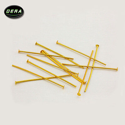 100Pcs  40Mm  Brass Color Pins Chandelier Lamp Bead Prism Crystal Connector