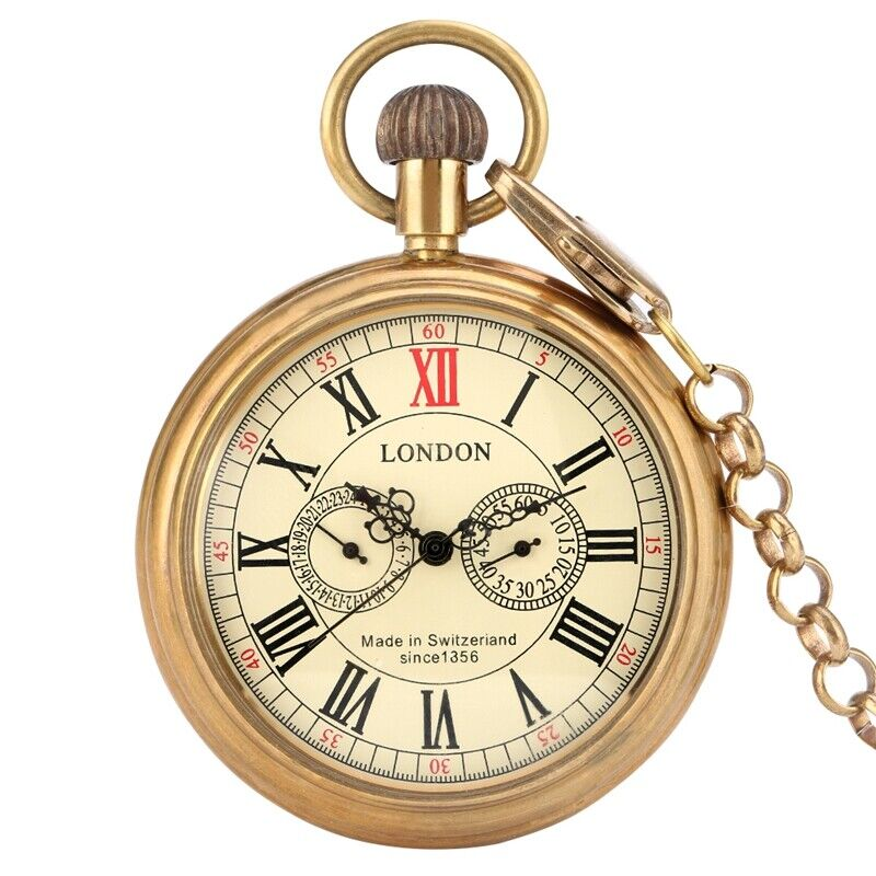 New Automatic Mechanical Pocket Watch Self-winding Roman Dial with Chain Unisex