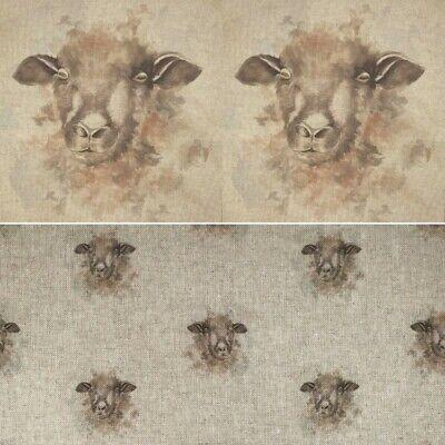 Cotton Rich Linen Fabric Sheep Farm Animal Curtain Upholstery Cushion Panel Linen Drapery Fabric