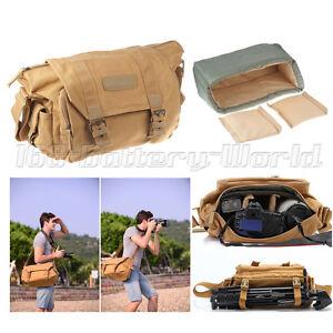 Canvas Khaki Shoulder Camera Bag Rucksack for Canon Nikon Sony Pentax DSLR SLR