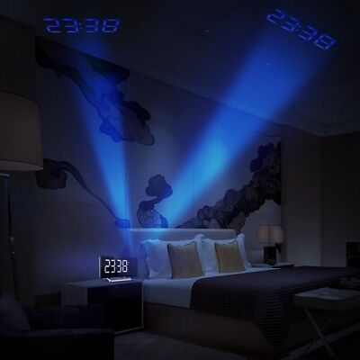 Projection Digital LCD Snooze FM Radio Alarm Clock w/ LED Backlight DUAL ALARM