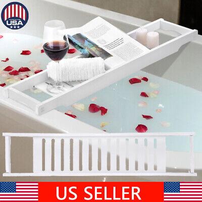 White Bathroom Bathtub Rack Bath Caddy Wine Glass Holder Tray Over Bath Tub US for sale  USA