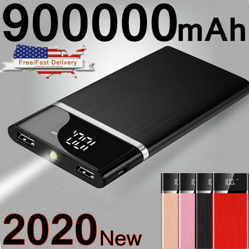Ultra-thin Portable External Battery Huge Capacity Power Bank 900000mAh Charger Cell Phone Accessories