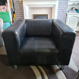 Black Leather One seater Sofa