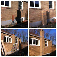 Brick / chimney repair, parging, Tuck pointing.Flat roofs repair