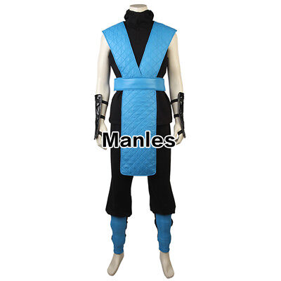 X Sub Zero Costume Mortal Kombat Cosplay Ninja Karate Halloween Game Men Outfits (Sub Zero Mortal Kombat Halloween Costume)