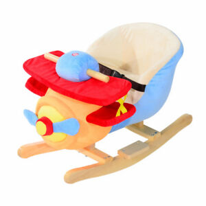 Kids Plush Rocking Horse Airplane w/Nursery Rhyme Sounds