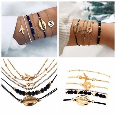 - 6Pcs/Set Women Bohemain Shell Airplane Beads Hollow Map Bracelet Bangle Jewelry