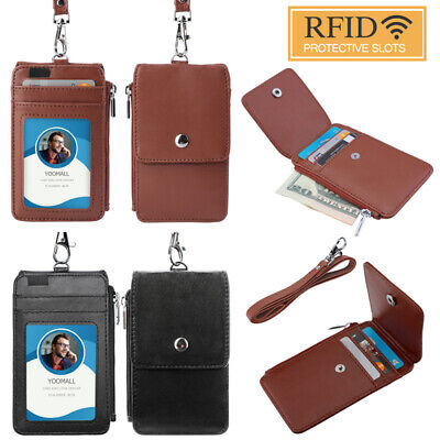 US ID Badge Card Holder Pu Leather 5 Slots With Neck Strap Lanyard Necklace ()