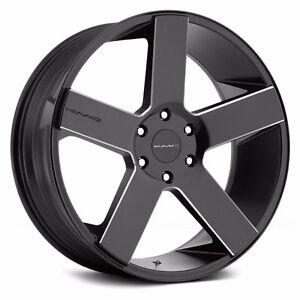 """24"""" KMC 690 Black/Milled Wheels Package"""