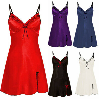 Lingerie Womens Sexy Silk Lace Nightdress Sleepwear Ladies Pajamas Robe Dress UK
