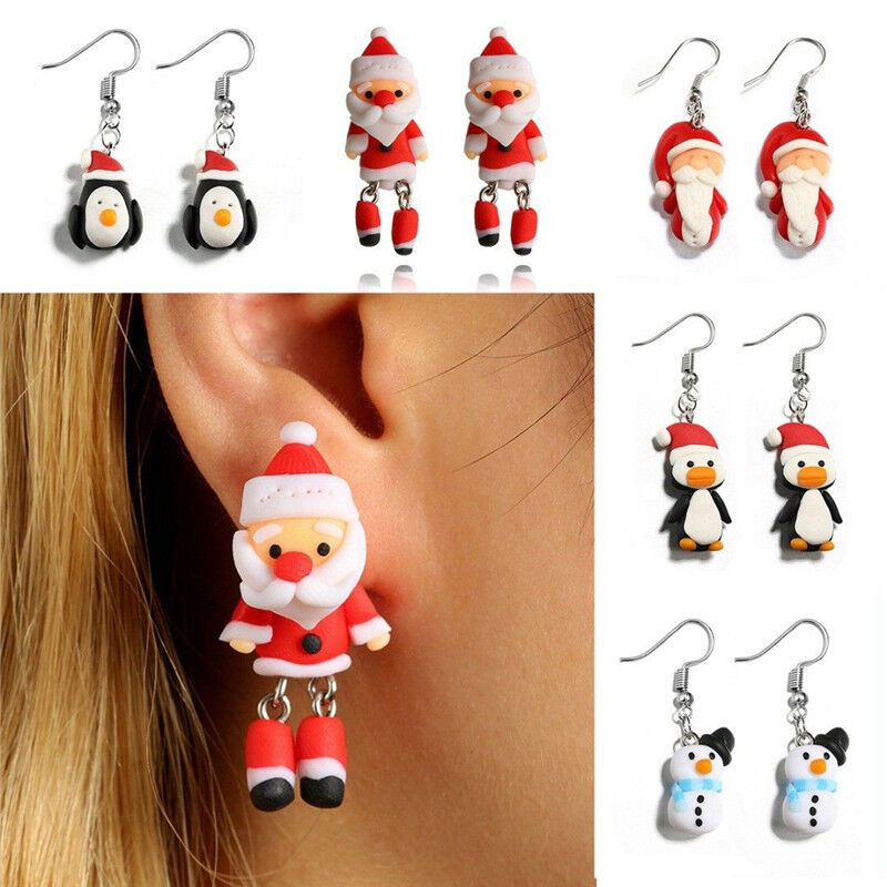 Polymer Clay Christmas Jewelry.Details About Christmas Series Cartoon Hook Dangle Polymer Clay Ear Stud Earring Xmas Jewelry