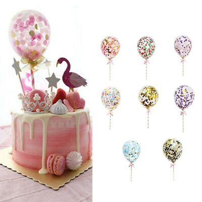 5pc Confetti Balloon Cake Topper Ribbon Baby Shower Birthday Wedding Party Decor (Balloon Cake Topper)