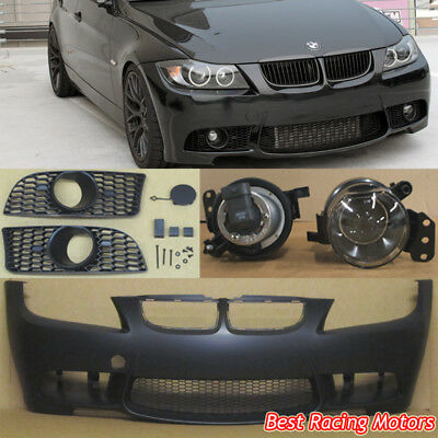 M3 Style Front Bumper + Glass Projector Fog Fit 05-08 BMW E90 E91 4dr 3-Series ()