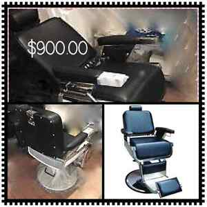 Reception counter salon furniture, barber chairs shampoo bowls