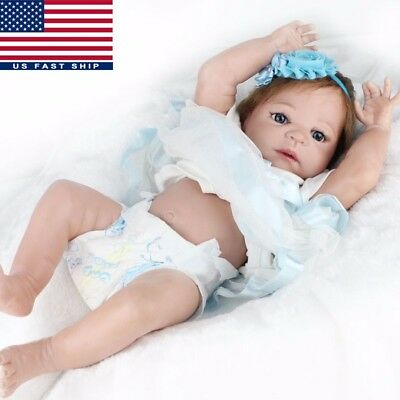 US 22'' Handmade Lifelike Reborn Girls Doll Full Body Vinyl Silicone Baby+Dress