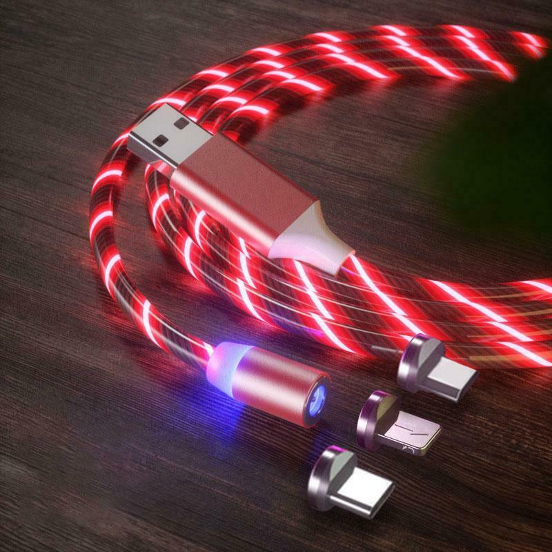 3iN1 LED Magnetic Light Flowing Fast Charging Cable For Type C Micro USB iphone