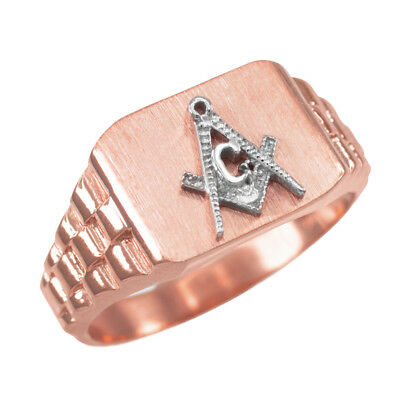10K Mens Rose Gold Masonic Rectangular Ring ()