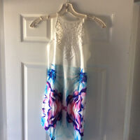 Floral Print Dress with Crochet top