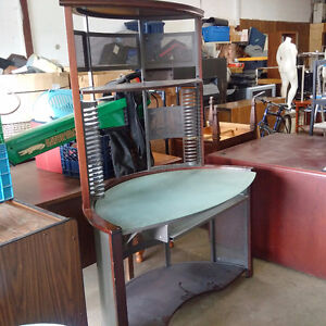 Tall Curved Wood & Glass Desk