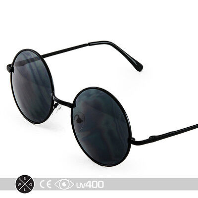 Black Frame Round Circle Sunglasses Wire Frame Vintage Lifestyle Free Case (Wire Circle Frame)