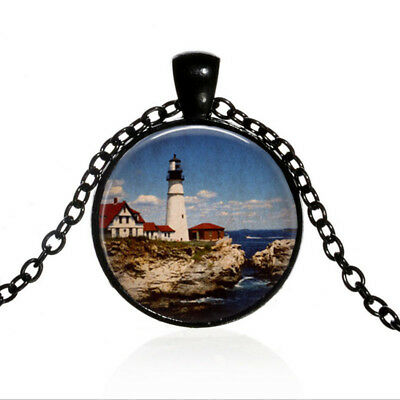 (Vintage Lighthouse Black Dome glass Photo Art Chain Pendant Necklace #TUO637)