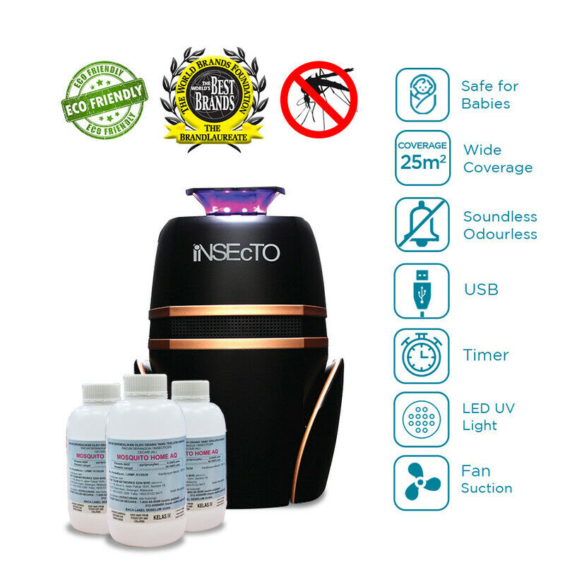 LED UV Electric Mosquito Fly Bug Insect Indoor Traip + (3) Odourless Aedes Water