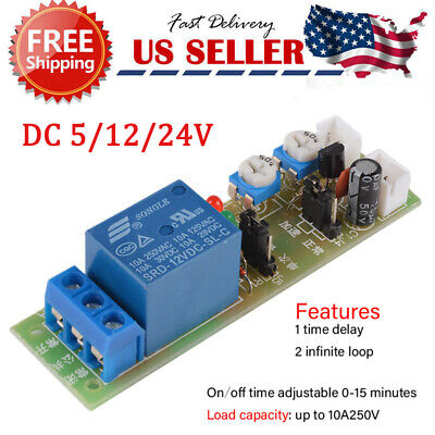 Dc 5v12v24v Time Delay Relay Module Circuit Timer Timing Board Switch Trigger