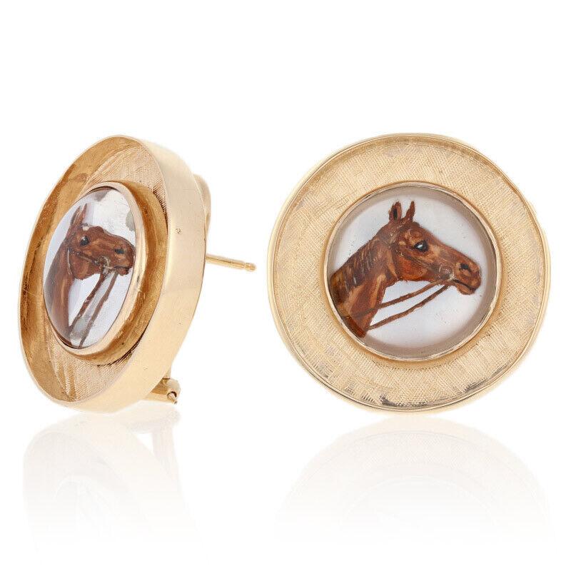 Essex Crystal Vintage Horse Earrings - 14k Gold Equestrian Large Pierced Studs
