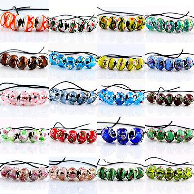 5pcs Murano Lampwork Glass Charm Big Hole Beads Fit European Charm Bracelet (Big Beads)