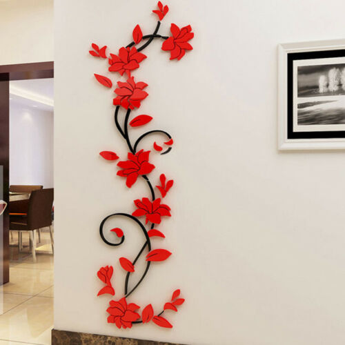 Home Decoration - 3D Flower Decal Vinyl Decor Art Home Living Room Wall Sticker Removable Mural