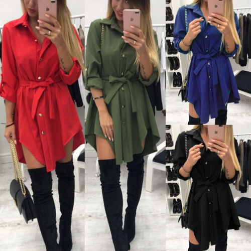 Women Long Sleeve Button Down Blouse Shirt Casual Loose Mini Dress US STOCK