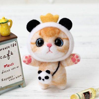 Needle Felting Dolls (Cat Doll Wool Felt Craft DIY Non Finished Poked Set Handcraft Kit For Needle Bag )