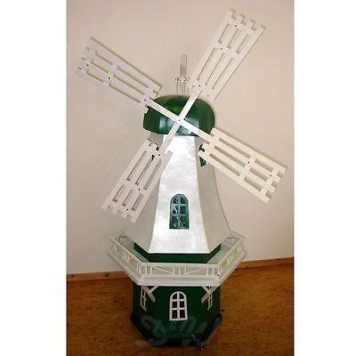 NEU WINDMÜHLE ISA 102 cm mit BELEUCHTUNG Garten Deko Mühle grün weiß Dekoration