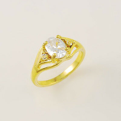 - 24K Gold Plated White Crystal Double Letter Y Women Ring Size 6 7 8 9 GJR019