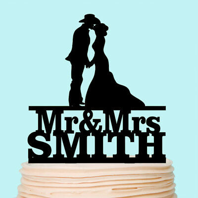Cowboy with Hat Bride and Groom Country Wedding Cake Topper Custom Decoration