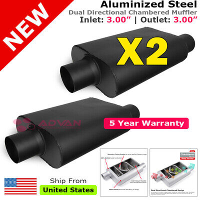 2 x Aluminized Steel Chamber Muffler 3 inch Offset In Center Out Black 211857