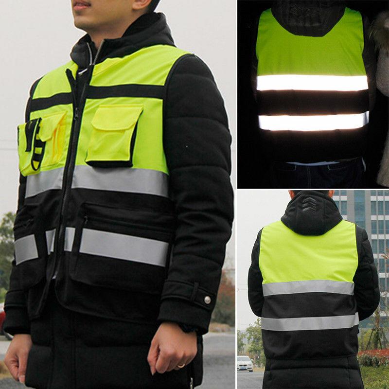 Safety Vest Zip Up HI VIS Reflective Tape Workwear Jacket Ni