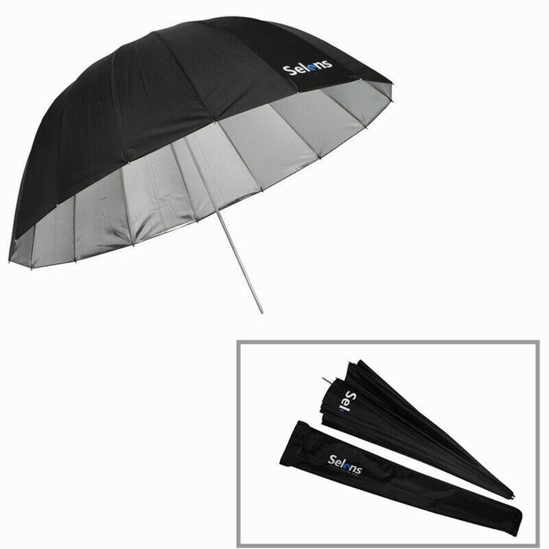 Selens Parabolic Black & Sliver Reflective Umbrella 165cm - Photo Studio Diffuse
