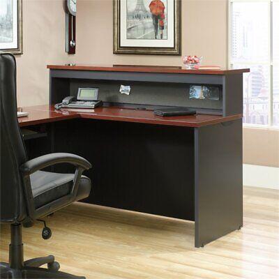 Sauder Via Office Reception Desk Credenza And Hutch In Classic Cherry