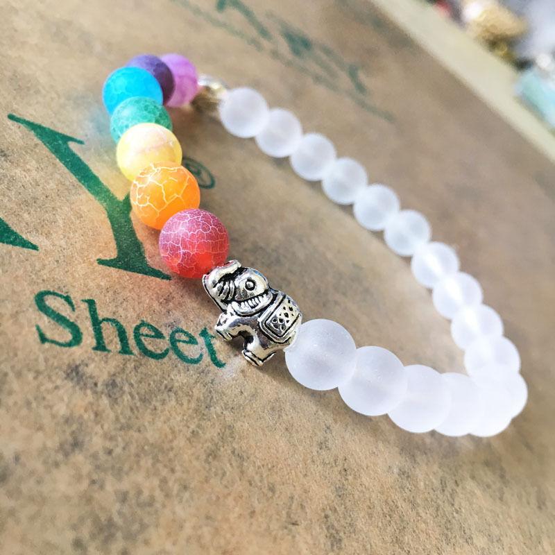 Healing Bracelet Jewelry Fashion Chakra Bracelet 7 WHITE with ELEPHANT CHARM