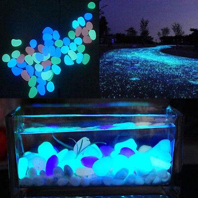 5Pcs Glow In The Dark Pebbles Stone Home Decor Walkway Aquarium Fish Tanks JD